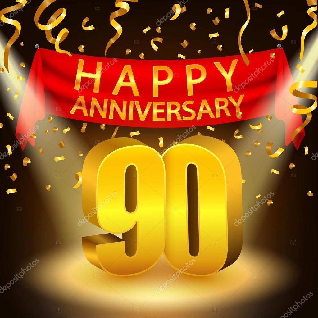happy 90th anniversary celebration with golden confetti and