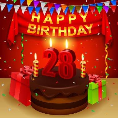 Happy 28th Birthday with chocolate cream cake and triangular flag