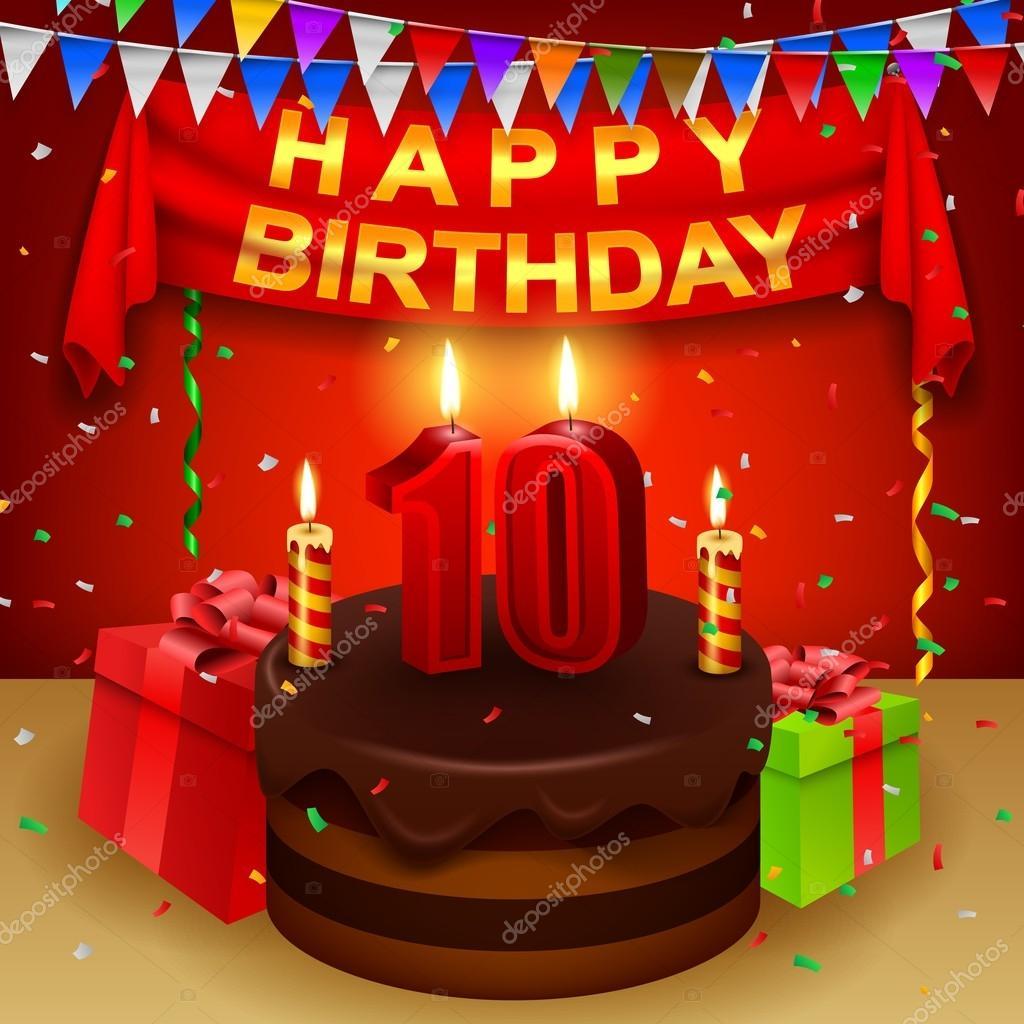 Glücklich 10 Geburtstag Mit Schokoladen Sahne Torte Und Dreieckige