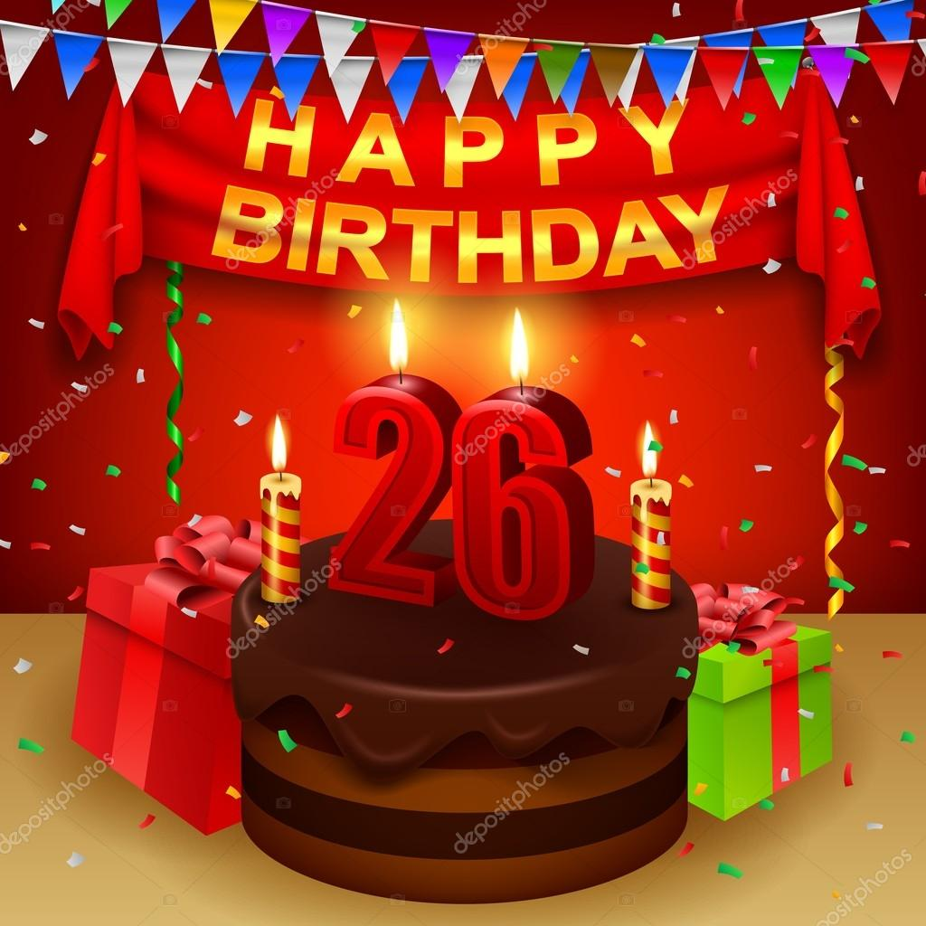 Happy 26th Birthday With Chocolate Cream Cake And Triangular Flag