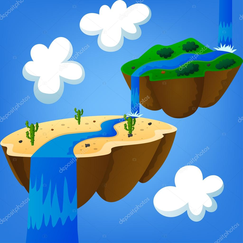 desert island and mountainous island with a waterfall of heaven floating in the air