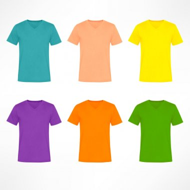 Colorful V Neck plain shirt sets