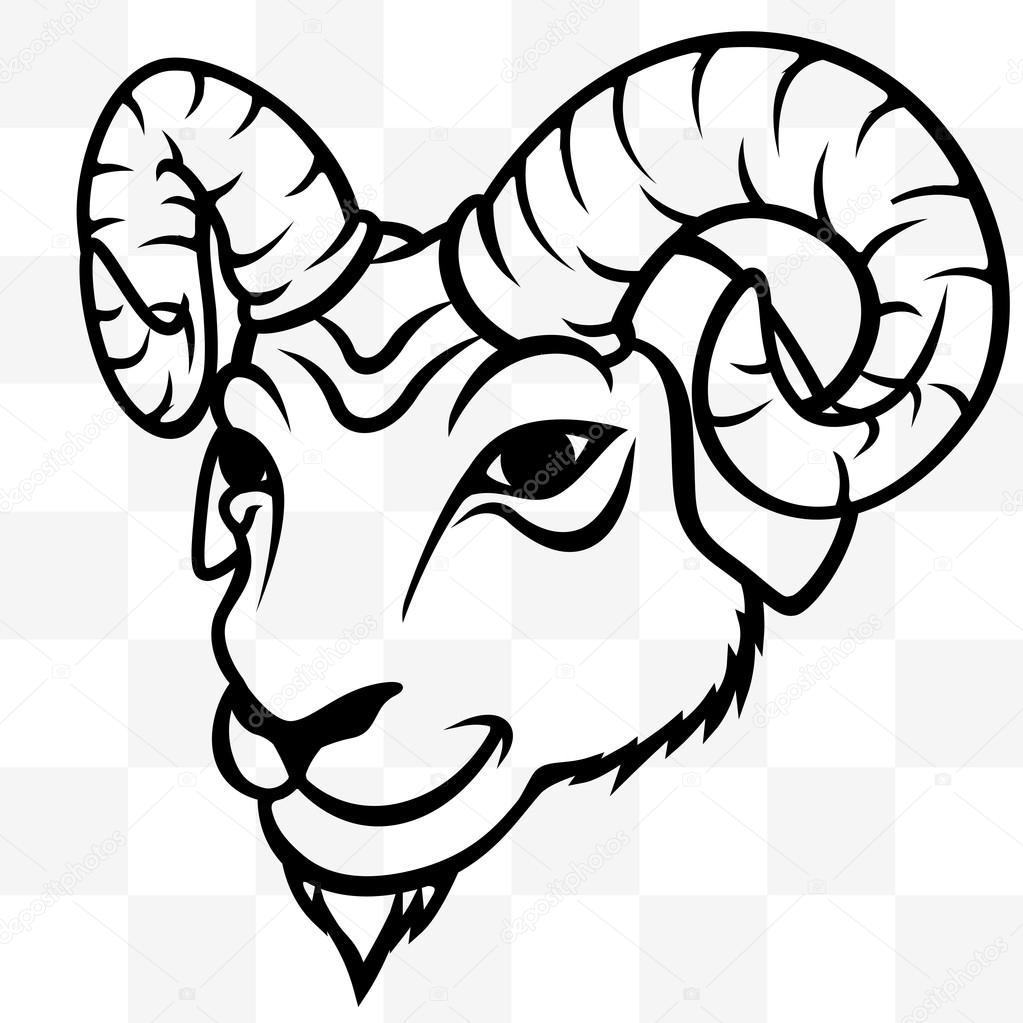 Tatuaje transparente de la cabeza de la mascota de RAM — Vector de ...