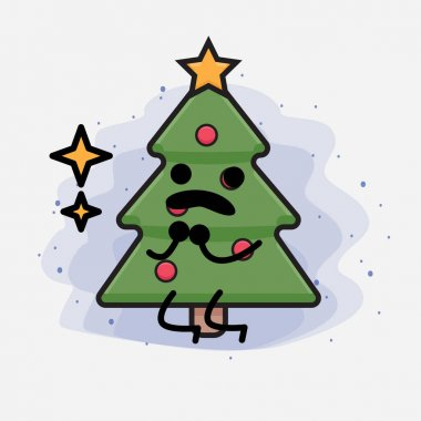 Christmas Tree Cute Icon Character Illustration icon