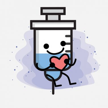 Cute Medical Syringe Vector Icon Illustration icon