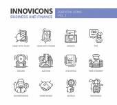 Moderní kancelářské a obchodní vedení plochý design ikony, piktogramy sada
