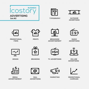 Modern advertising simple thin line design icons, pictograms set