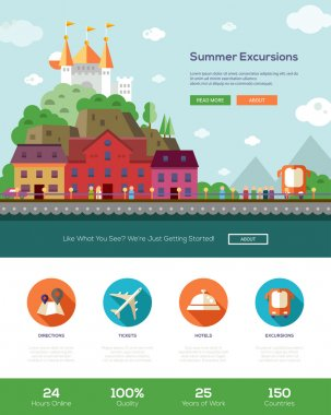 Summer vacation traveling website template with header and icons