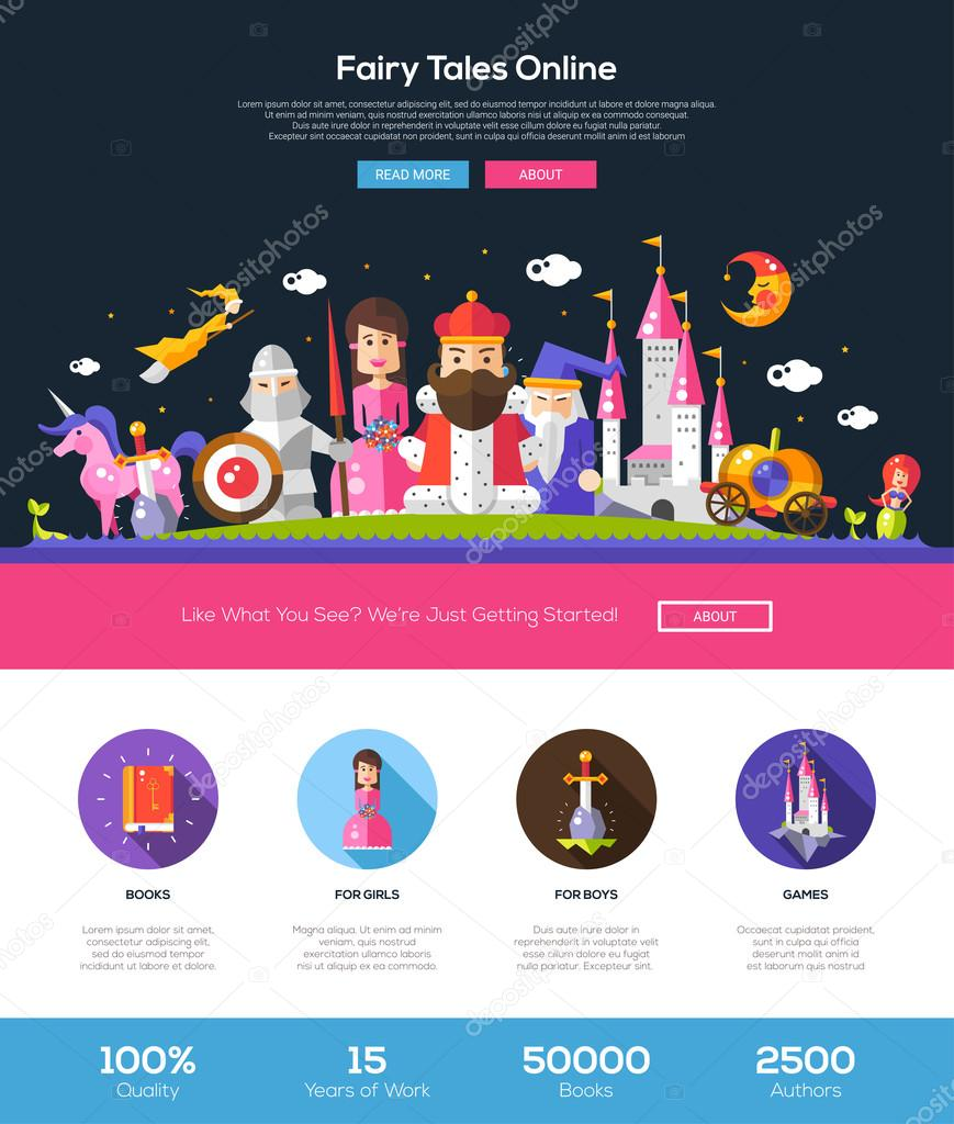 Fairy tales website header banner with webdesign elements
