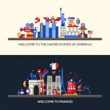 France, USA travel banners set with famous French symbols