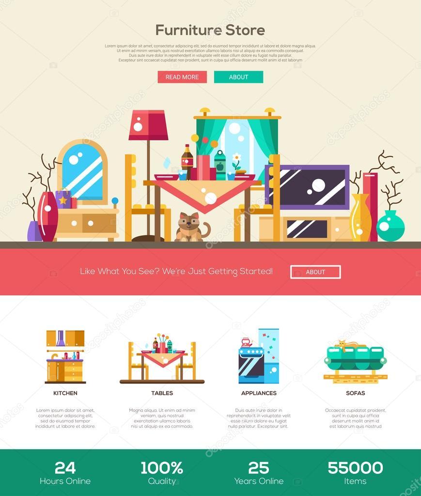 House interior store website header banner with webdesign elements ...