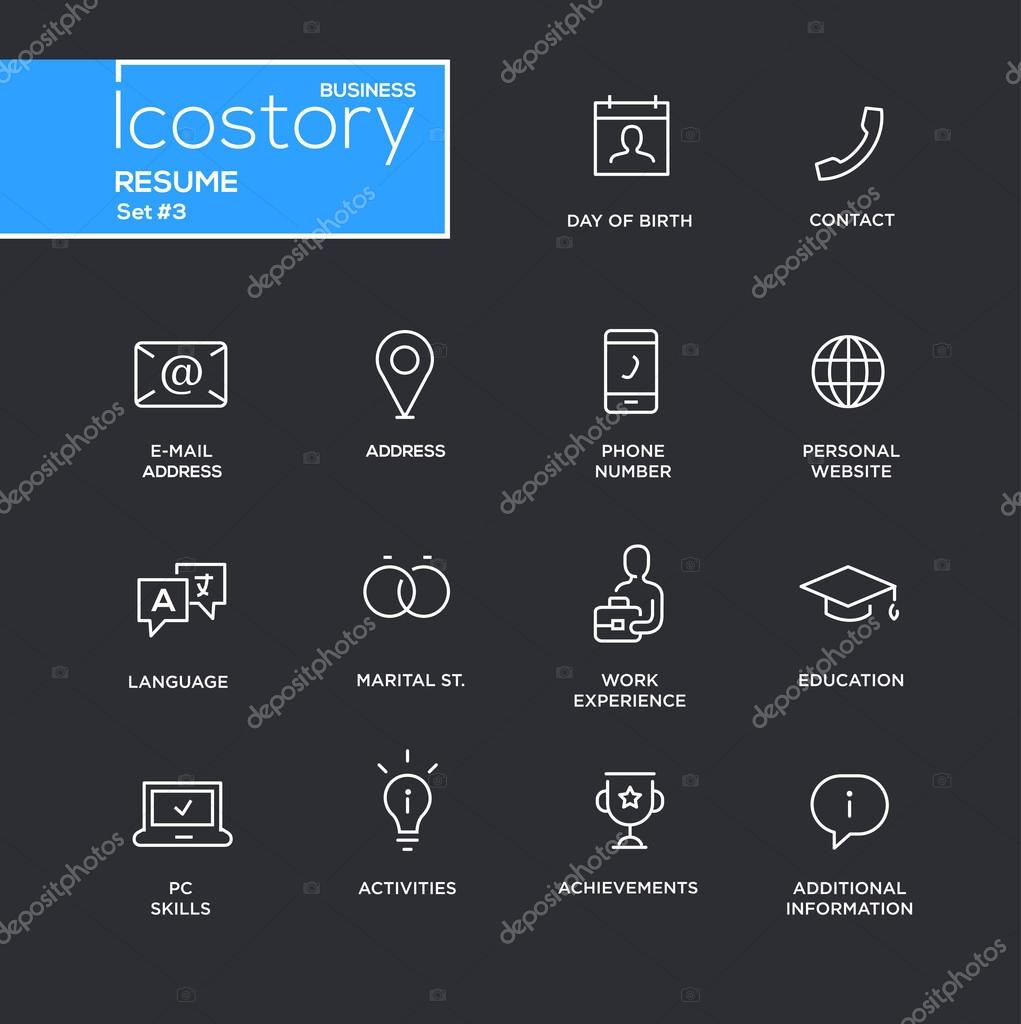modern resume simple thin line design icons  pictograms set  u2014 stock vector  u00a9 decorwithme  104081574