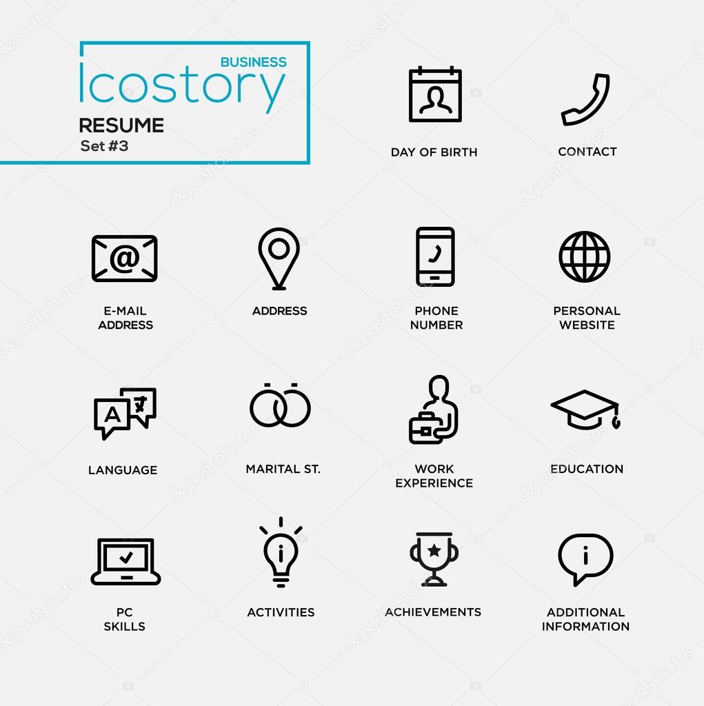 Modern Resume Simple Thin Line Design Icons Pictograms Set