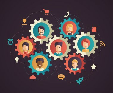 Network communication - modern flat design business infographics illustration