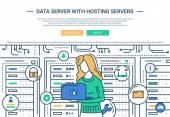 Adatkiszolgáló és Hosting - line design honlap fejlécében