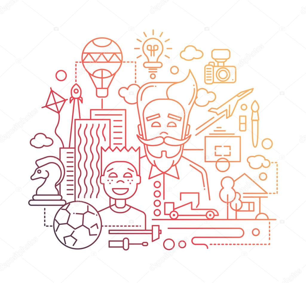 Common Interests Hobbies Father And Son Line Design Illustration