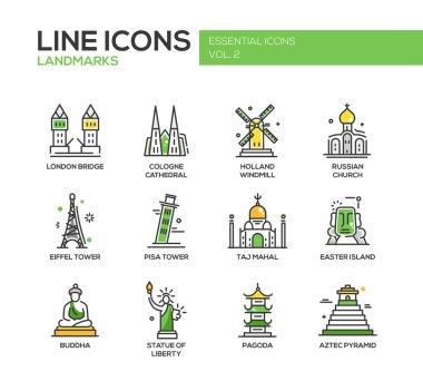 World landmarks icons set