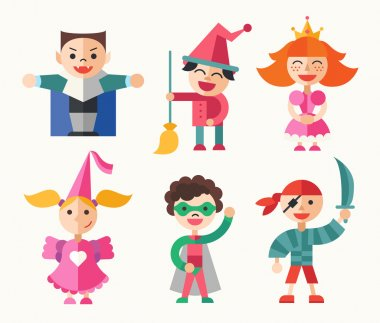 Children in carnival costumes - flat design characters set