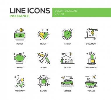 Types of Insurance - line design icons set
