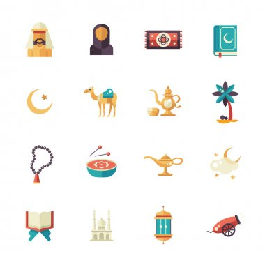 Islamic culture icons set