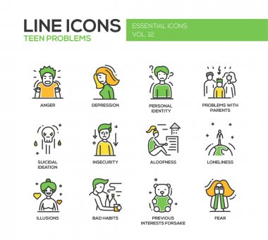 Teen problems- line design icons set