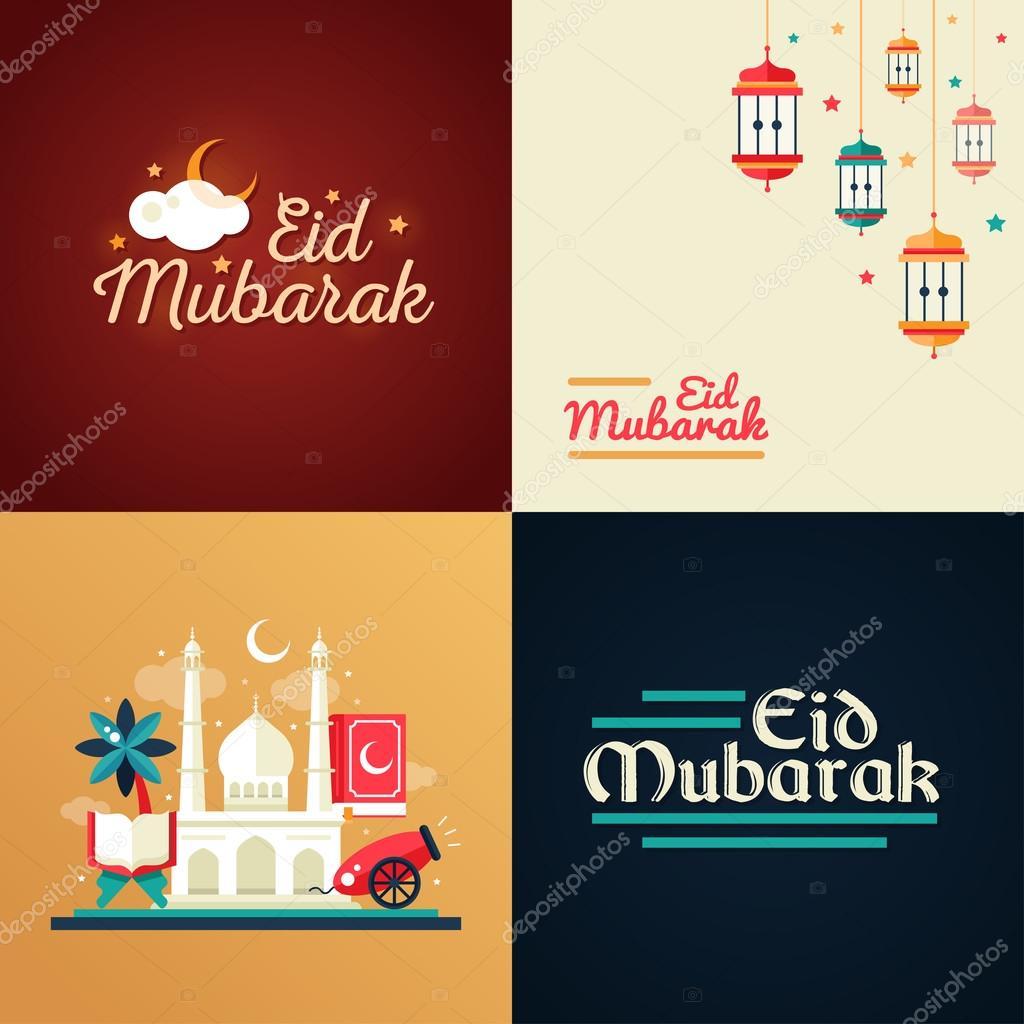 Plantillas para tarjeta postal con los iconos de la cultura islámica ...