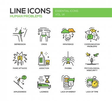 Human psychological problems- line design icons set