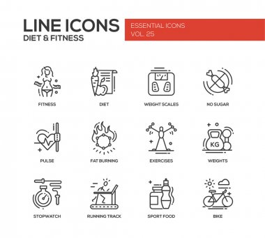 Diet and fitness - line design icons set