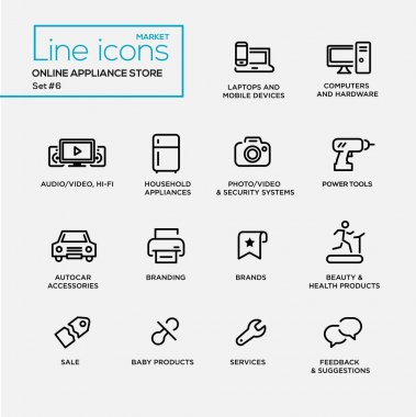 Online appliance store line design pictograms set