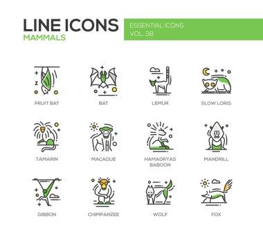 Mammals - line design icons set