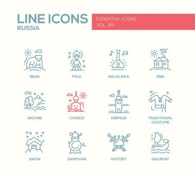 Russian symbols - flat design line icons set