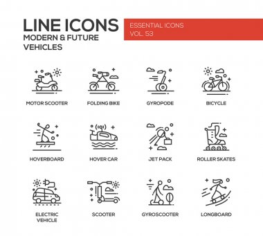 Modern and Future Vehicle - line design icons set