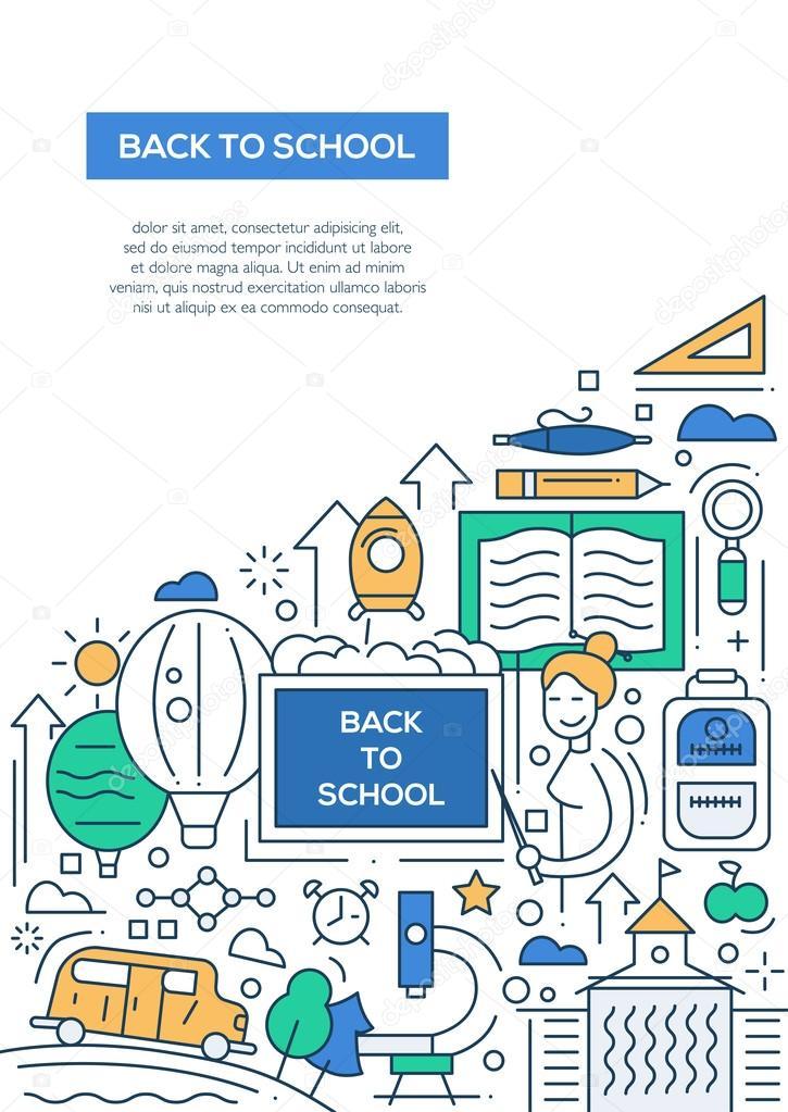 Zurück zur Schule - Linie Entwurfsvorlage Broschüre Plakat A4 ...