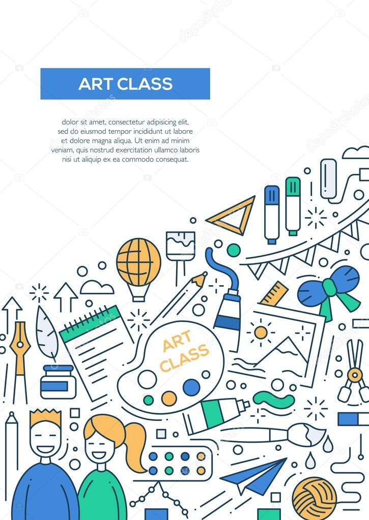 Kunstunterricht - Linie Entwurfsvorlage Broschüre Plakat-A4 ...