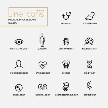Medical Professions - line design pictograms set