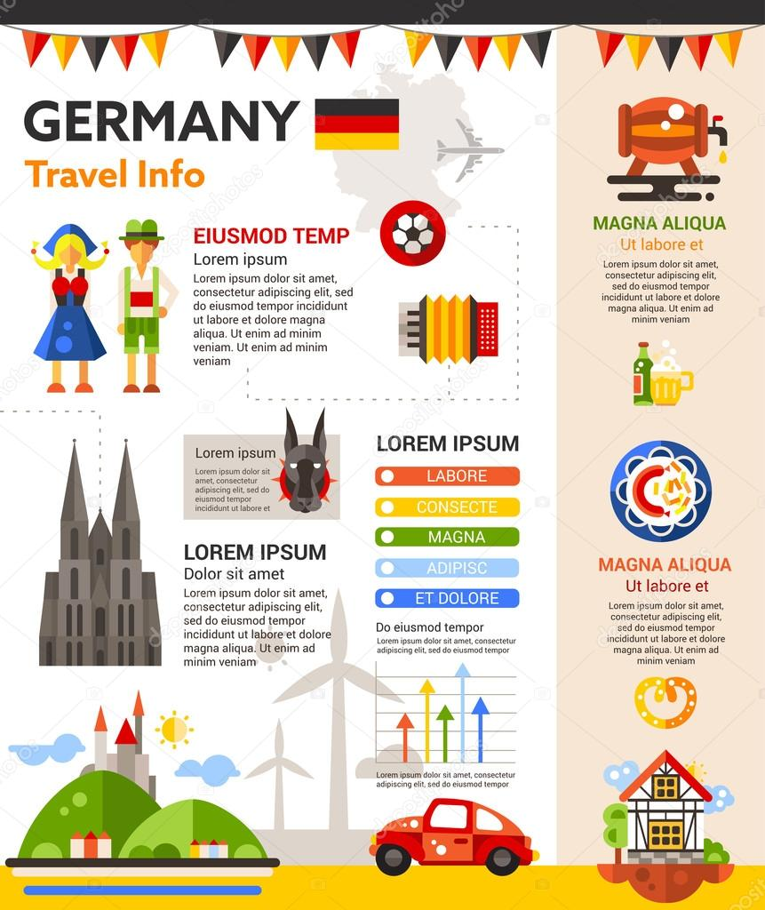 Germany Travel Info - poster, brochure cover template