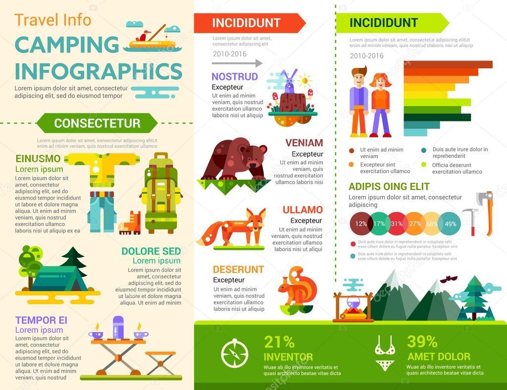 Infografía de camping - cartel, plantilla de la cubierta del ...