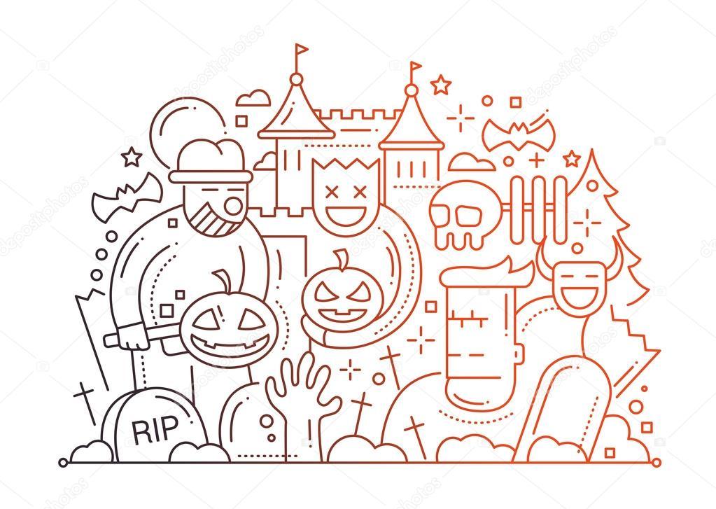 Halloween Karta Płaska Konstrukcja Wiersza Grafika