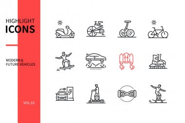 Modern and future vehicles - line design style icons set. Urban transport idea. Motor scooter, folding bike, gyropode, hoverboard, jet pack, roller skates, electric car, gyroscooter, longboard icon