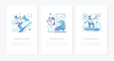 Winter sports - vector line design style banners with space for your text. Mountain skiing, skating, snowboarding, sportive equiment. People enjoying seasonal activities, participating in competitions icon