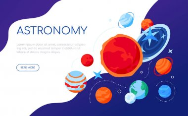 Space and astronomy - modern colorful isometric web banner