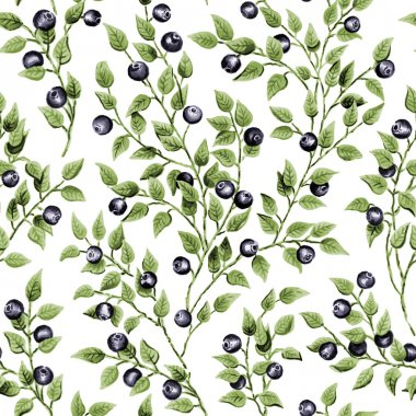 Illustration of seamless pattern with watercolor blueberry stock vector