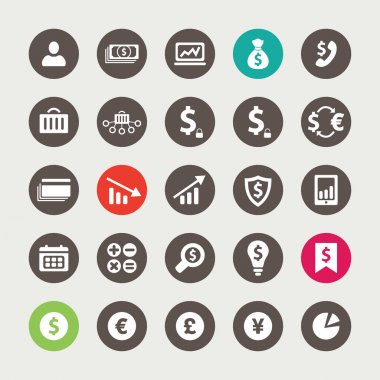Set of financial and business icons