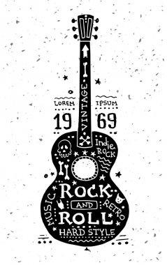 Illustration of vintage grunge label with guitar
