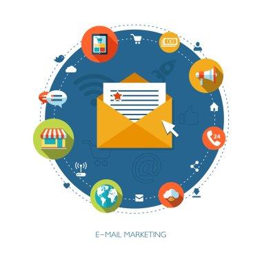 Illustration of flat design business marketing composition