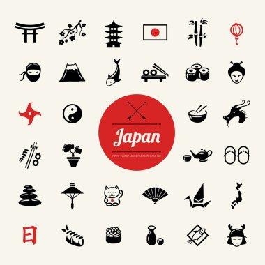 Set of flat design Japanese icons