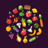 Photo Illustration of flat design fruits and vegetables icons composit