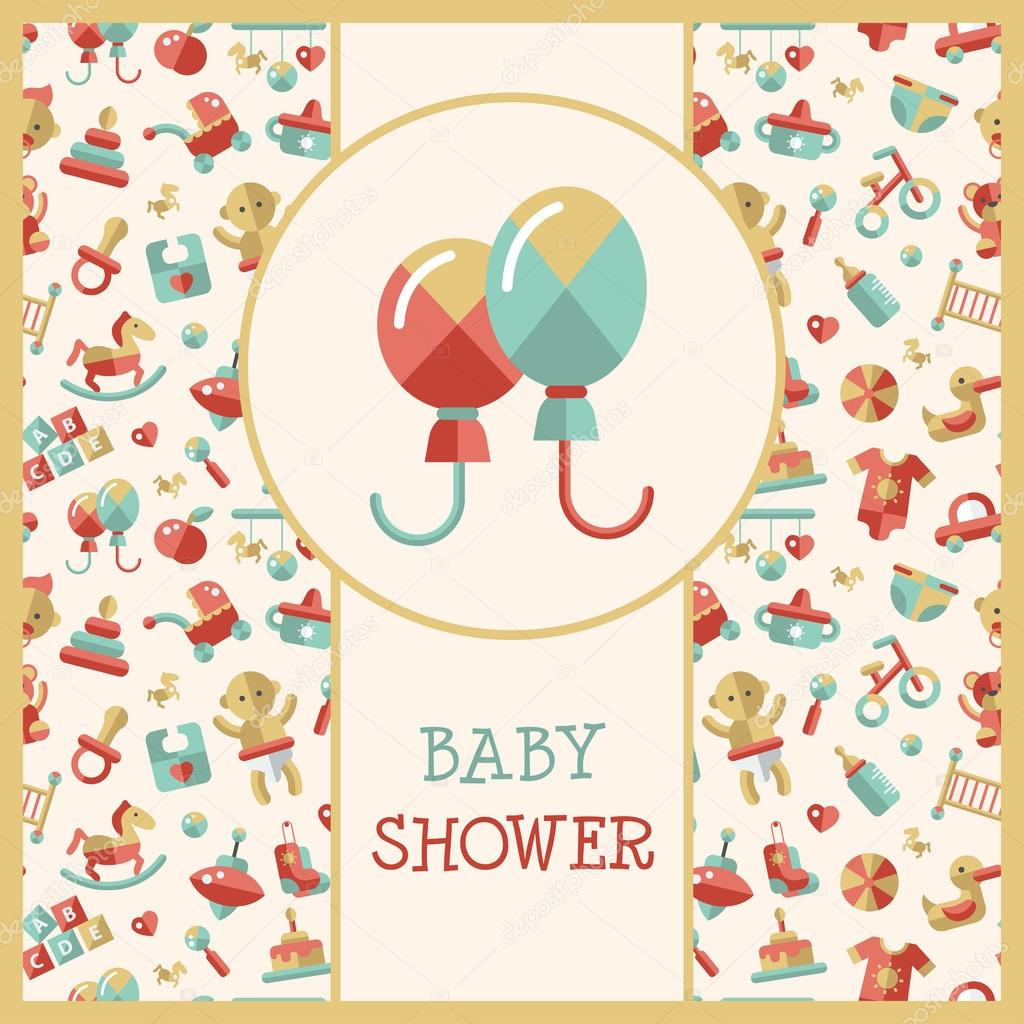 Illustration of flat design cute baby shower template