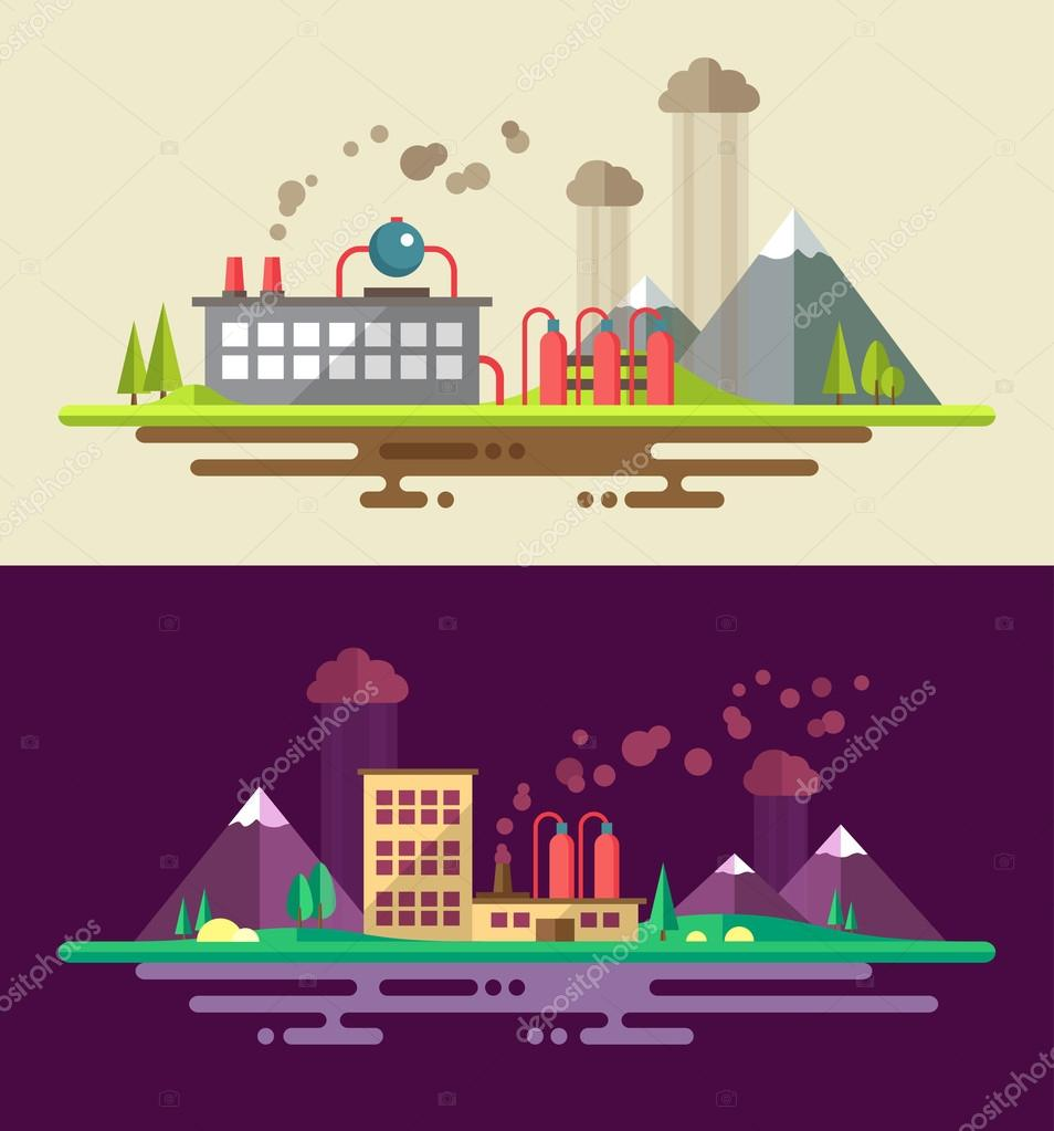 Modern flat design ecological conceptual landscape illustrations