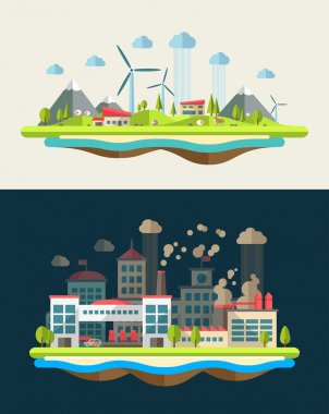 Modern flat design conceptual ecological illustration